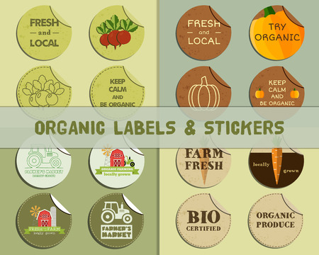 fairs: Set of Summer Farm Fresh branding identity elements. Organic design. Mock up. Label and sticker. Best for natural shop, organic fairs, eco markets and local companies. Vector illustration