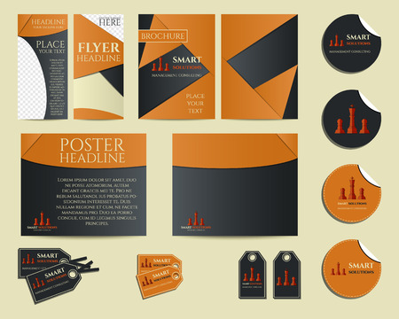 identity management: Smart solutions business branding identity set. Flyer, brochure, label and sticker. Best for management consulting company etc. Unique geometric design. Vector illustration