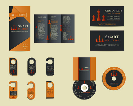 identity management: Smart solutions business branding identity set. Flyer, brochure, cd, business card. Best for management consulting company etc. Unique geometric design. Vector illustration Stock Photo