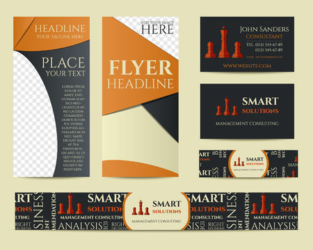 identity management: Smart solutions business branding identity set. Flyer, brochure, business card. Best for management consulting company etc. Unique geometric design. Vector illustration Stock Photo