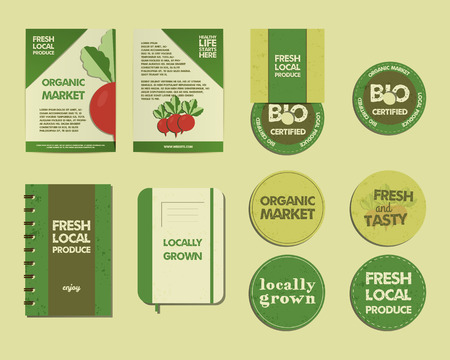 cd label: Set of Summer Farm Fresh branding identity elements. Organic desigg. Mock up. Flyer, label, cd, notebook. Best for natural shop, organic fairs, eco markets and local companies. Vector illustration