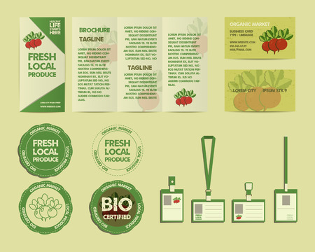fairs: Set of Summer Farm Fresh branding identity elements. Organic design. Mock up. Flyer, logo template, business card. Best for natural shop, organic fairs, eco markets and local companies. Vector Illustration