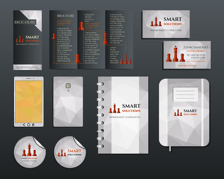 concerning: Business corporate branding identity set. Brochure mobile device, business card, label, brand book in polygonal style concerning to management, consulting theme. Vector illustration