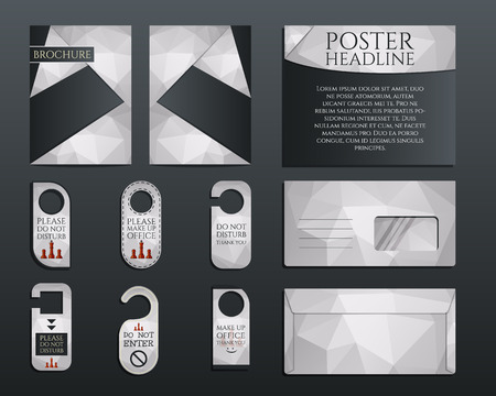 identity management: Business corporate branding identity set. Brochure and flyer design template, envelope, stickers in polygonal style concerning to management, consulting theme. Vector illustration