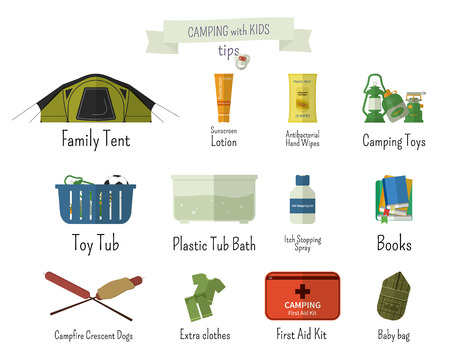 campground: Camping with kids. Tips. Set of flat adventure traveling elements and symbols with text signs. Summer Outdoor design. Campsite and campground. Vector illustration