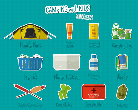 campground: Camping with kids stickers and labels. Set of flat adventure traveling elements and symbols with text signs. Summer Outdoor design. Campsite and campground. Vector illustration Illustration