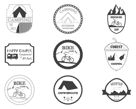 rv: Set of retro badges and label logo graphics. Camping badges and travel logo emblems. Mountain bike, rv park, motorhome and forest campsite theme. Vector illustration Illustration