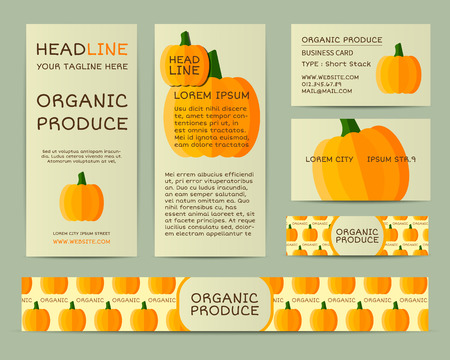 fairs: Farm Fresh business corporate identity design with pumpkin. Branding your organic company. Mock up design with shadow. Best for natural shop, organic fairs, eco markets and local companies. Vector. Illustration
