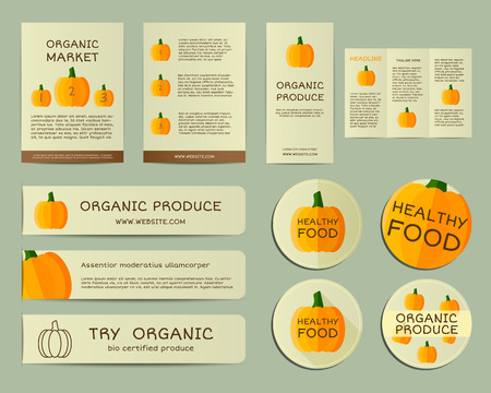local business: Organic business corporate identity design with pumpkin. Branding your organic company. Brochure. Mock up design. Best for natural shop, organic fairs, eco markets and local companies. Vector.