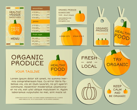 fairs: Organic business corporate identity design with pumpkin. Branding your organic company. Menu card. Mock up design. Best for natural shop, organic fairs, eco markets and local companies. Vector. Illustration