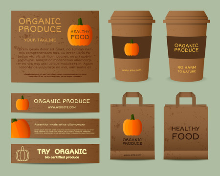 fairs: Natural business corporate identity design with pumpkin. Branding your organic company. Paper bag, cup. Mock up design. Best for natural shop, organic fairs, eco markets and local companies. Vector.