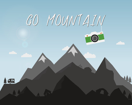mountain silhouette: Go mountain concept design. Outdoor travel illustration with silhouette, tree, bike, tent. Colorful camera. Best camping  background. Vector.