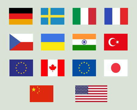 denmark flag: Set of european union, usa, ukraine, china, japan, canadam india flags. Original proportions and official colors. Vector illustration