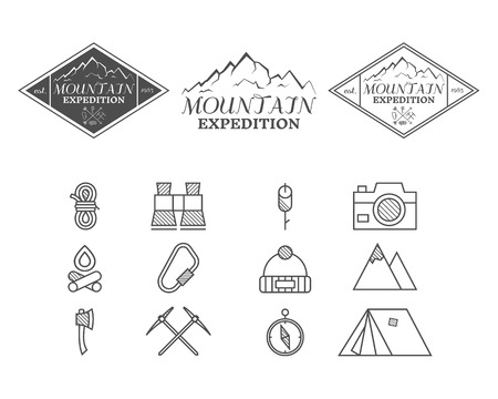 climbing: Set of monochrome mountain camp badge, and label and icon templates. Travel, hiking, climbing style. Outdoor. Best for adventure sites, travel company etc. Isolated on white background. Vector.