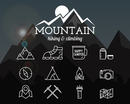 climbing: Summer mountain camp badge, template and label. Travel, hiking, climbing line icons. Thin and outline design. Outdoor. Best for adventure sites, travel magazine etc.On blurred background. Vector Illustration