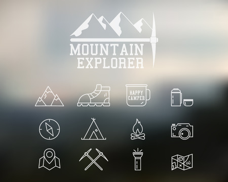 climbing: Summer mountain explorer camp badge, template. Travel, hiking, climbing line icons. Thin and outline design. Outdoor. Best for adventure sites, travel magazine etc. On blurred background. Vector.