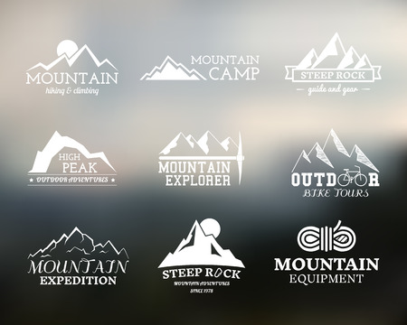 alps: Set of Summer mountain explorer camp badge, and label templates. Travel, hiking, climbing style. Outdoor. Best for adventure sites, travel magazine etc. On blurred background. Vector illustration