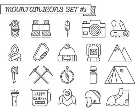 escalando: Conjunto de Camp, iconos de viajes, estilo de l�nea delgada, dise�o plano. Monta�a y escalada en el tema con la tienda tur�stica, hacha y otros equipos y elementos. Aislado en el fondo blanco. Ilustraci�n vectorial