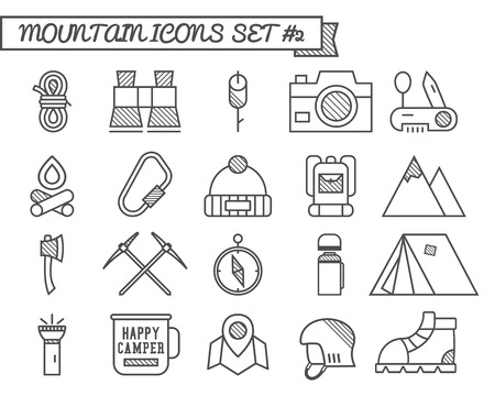 campground: Set of Camp, travel icons, thin line style, flat design. Mountain and climbing theme with touristic tent,  axe and other equipment and elements. Isolated on white background. Vector illustration