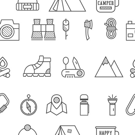 Camp, travel seamless pattern with thin line icon style, flat design. Mountain and climbing theme with touristic tent,  axe and other equipment and elements. Isolated on white background. Vector.