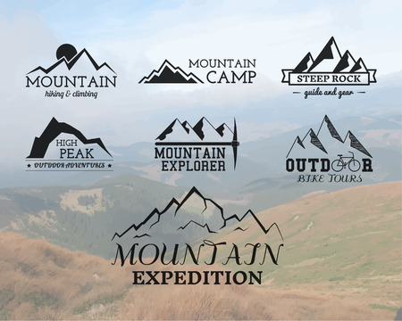 adventures: Set of Summer mountain explorer camp badge, and label templates. Travel, hiking, climbing style. Outdoor. Best for adventure sites, travel company etc. On blurred background. Vector illustration Illustration