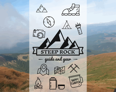 steep by steep: Summer Steep Rock camp badge, template. Travel, hiking, climbing line icons. Thin and outline design. Outdoor. Best for adventure sites, travel magazine etc. On blurred background. Vector.