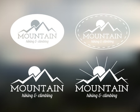 Set of Summer mountain camp badge, and label templates. Travel, hiking, climbing style. Outdoor. Best for adventure sites, travel company etc. On blurred background. Vector illustration