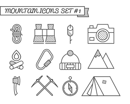 Set of Camping, travel icons, thin line style, flat design. Mountain and climbing theme with touristic tent,  axe and other equipment and elements. Isolated on white background. Vector illustration