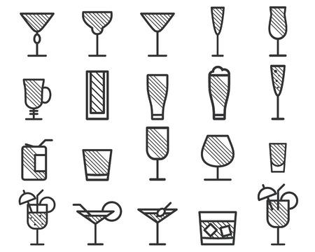 음료, 음료가는 선 기호 아이콘을 벡터. 맥주, 칵테일입니다. 파티 윤곽 요소 흰색 배경에 고립입니다. 벡터 일러스트 레이 션 스톡 콘텐츠 - 43464918