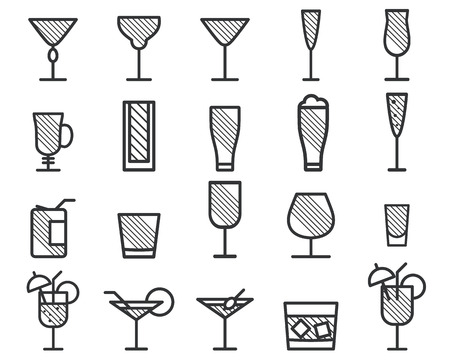 Beverage, drinks vector thin line symbol icon. Beer, Cocktails. Party outline elements isolated on white background. Vector illustration Stok Fotoğraf - 43464918