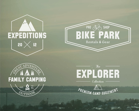 Set of Summer explorer, family camp badge, logo and label templates. Travel, hiking, biking style. Outdoor. Best for adventure sites, travel magazine etc. On blurred vintage background. Vector. Vettoriali