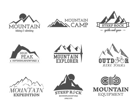 Set of monochrome outdoor adventure explorer camp badge, and label templates. Travel, hiking, climbing style. Best for adventure sites, travel magazine etc. Isolated on background. Vector.