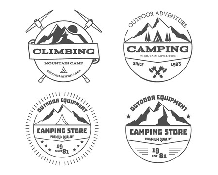 badge vector: Set of monochrome outdoor camping adventure and mountain, climbing, hiking badge, emblem, label design. Summer travel with family. Vector illustration