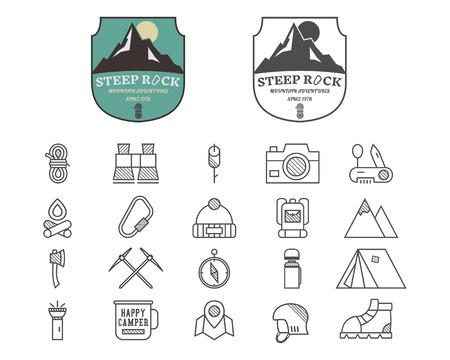 escalando: Conjunto de placa campo de la montaña del verano, el logotipo y las plantillas de etiquetas e iconos de línea. Viajes, senderismo, escalada en estilo. Al aire libre. Mejor para los sitios de aventura, viajes blogs etc. En el fondo blanco. Ilustración vectorial