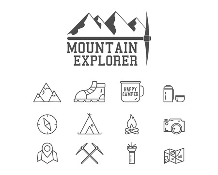 Camping mountain explorer camp badge, logo template. Travel, hiking, climbing line icons. Thin and outline design. Outdoor. Best for adventure sites, travel magazine etc. On white background. Vector Vettoriali