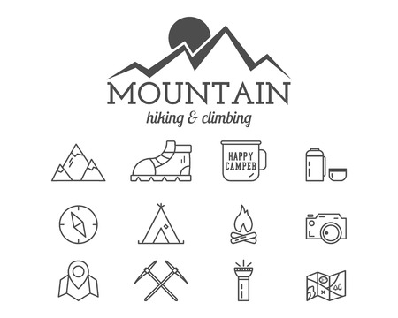 Summer mountain camp badge, logo template and label. Travel, hiking, climbing line icons. Thin and outline design. Best for adventure sites, travel blogs etc. On white background. Vector. Stock Illustratie