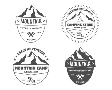 Set of monochrome outdoor adventure and mountain, hiking badge logo, emblem logo, label design. Summer travel with family. Vector illustration