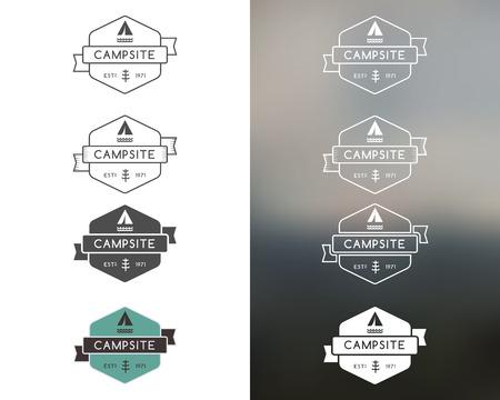 Set of outdoor adventure and forest camp, hiking badge logo, emblem logo, label design. Monochrome, color, line style. Summer travel with family. Vector illustration Illustration