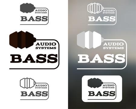 bass clef: Música sistemas de audio logotipo, etiqueta, logotipo, icono. Elemento de Bass. Diseño de auriculares. En monochtome, colorido, silueta, estilo de línea. Ilustración vectorial Vectores