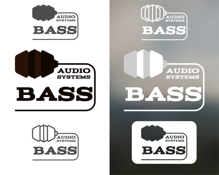 music symbol: Music audio systems logo, badge, label, logotype, icon. Bass element. Headphones design. In monochtome, colorful, silhouette, line style. Vector illustration Illustration