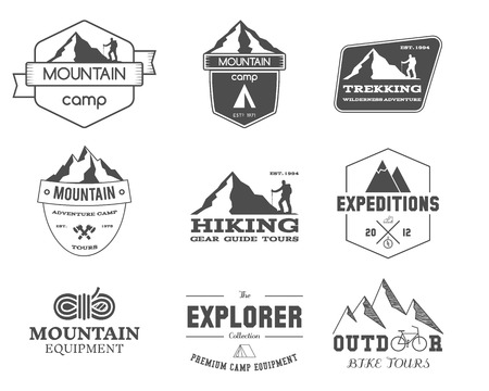 trekking: Set of monochrome outdoor adventure explorer camp badge, logo and label templates. Travel, hiking, climbing, trekking style. Best for adventure sites, travel magazine. Isolated on background. Vector. Stock Photo