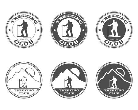 흑백 야외 모험 탐색기 캠프 배지, 로고 및 라벨 템플릿 집합입니다. 클럽 트레킹. 모험 사이트보다도, 잡지를 여행한다. 배경입니다. 벡터 일러스트 레