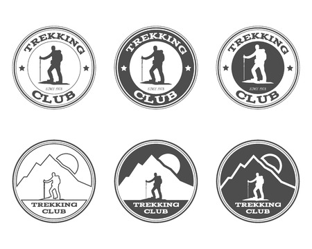 Set of monochrome outdoor adventure explorer camp badge, logo and label templates. Trekking club. Best for adventure sites, travel magazine. Isolated on background. Vector illustration