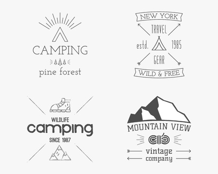 family hiking: Mountain and family forest camp badge, and label template. Travel, hiking, climbing style. Outdoor monochrome and line design. Best for adventure sites, travel blogs. On white background.