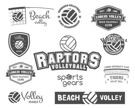 배구 레이블, 배지 및 아이콘을 설정합니다. 스포츠 휘장. 발리 클럽, 스포츠 상점, 웹 사이트 또는 잡지에 적합합니다.