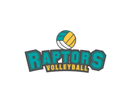 raptors: Volleyball club emblem, college league ,  raptors design template element, volleyball tournament badge and label, contest, tug, rush, competition, contest, emulation, game. Sport insignia.