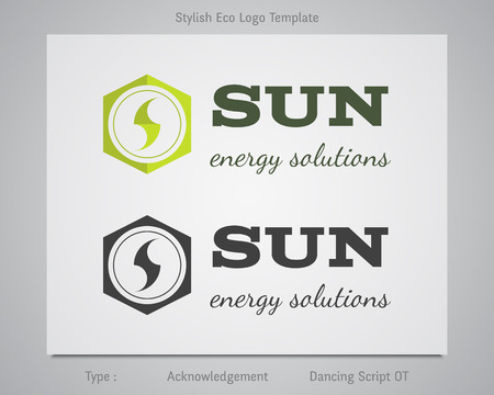 corporation: Sun - energy solutions  template for eco corporation, company, firm or other bio, ecology business. Clean, simple green design. Horizontal. Illustration