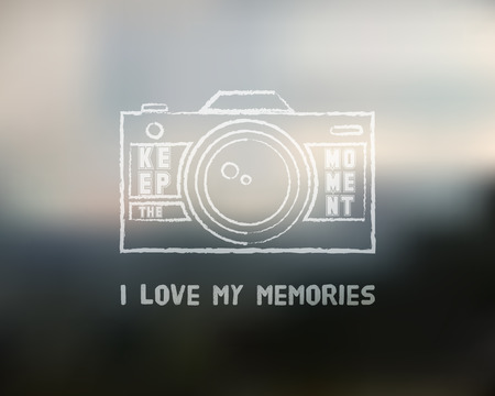 keywords backdrop: Shutter Icon or logo design template with key words. Camera and Lens badge. Keep the moment label. Isolated on blurred landscape background. Chalk design. Vector illustration.