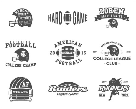 Football: College rugby and american football team badges,  labels, insignias in retro style. Graphic vintage design for t-shirt, web. Monochrome print isolated on a white background.