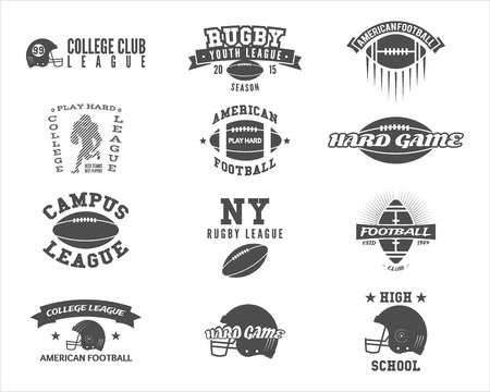 College rugby and american football team badges, labels, insignias in retro style. Graphic vintage design for league tournaments, t-shirt, websites. Sports print on a white background.